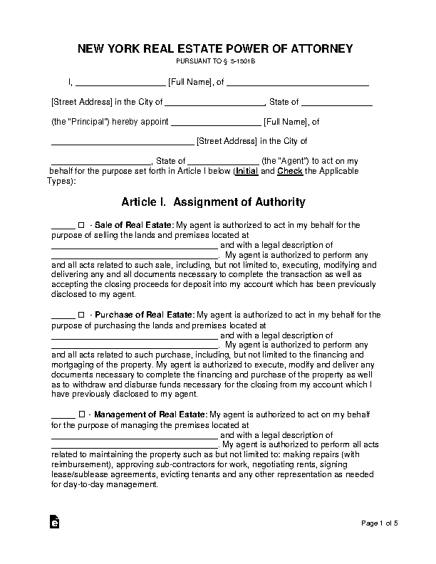 New York Real Estate Power Of Attorney Form