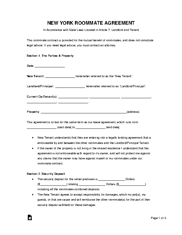 New York Roommate Agreement Template