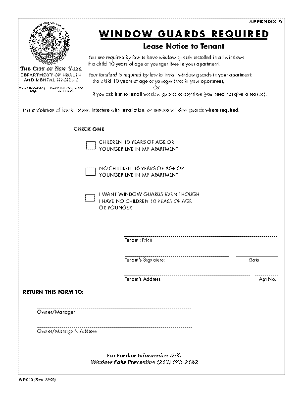 New York Window Guard Dislcosure Form