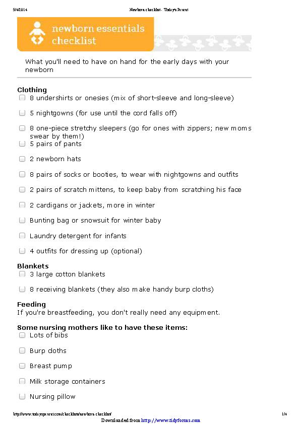 Newborn Checklist 3