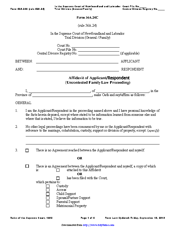 Newfoundland And Labrador Affidavit Of Applicant Respondent Uncontested Family Law Proceeding Form