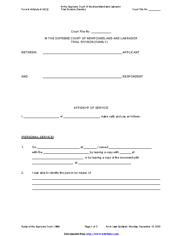 Newfoundland And Labrador Affidavit Of Service Form