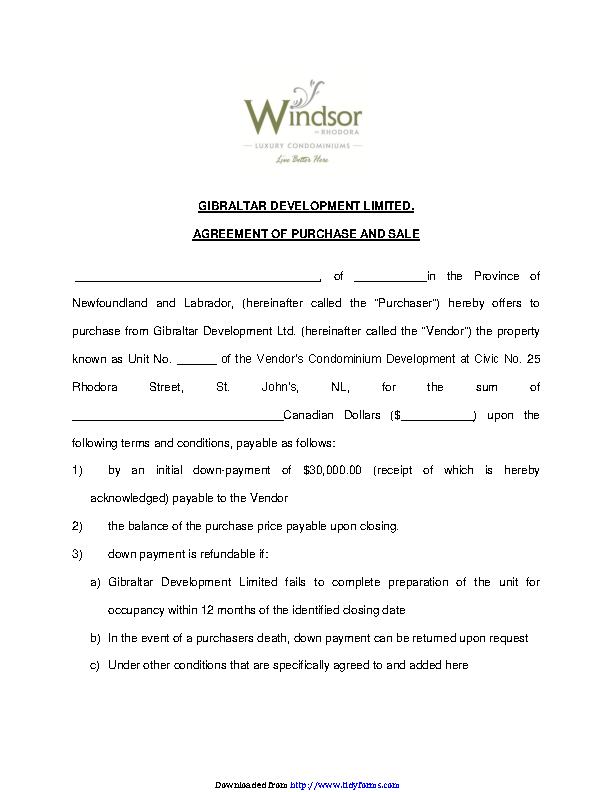 Newfoundland And Labrador Agreement Of Purchase And Sales Form 1