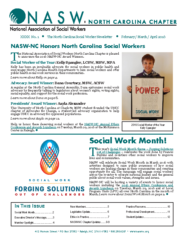 Newsletter For North Carolina Social Workers