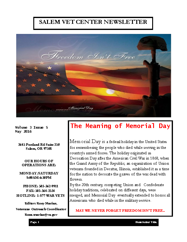Newsletter Template Of Memorial Day
