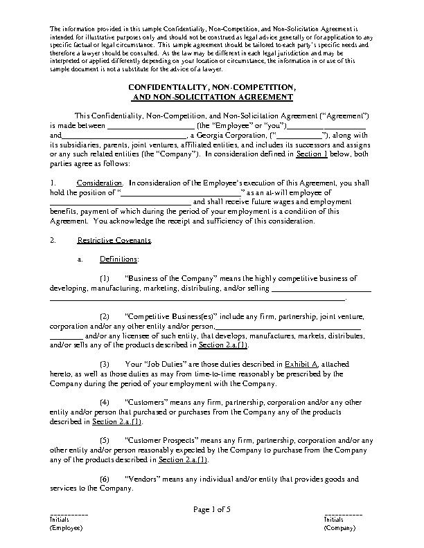 Non Compete Agreement Letter Of Business Pdfsimpli