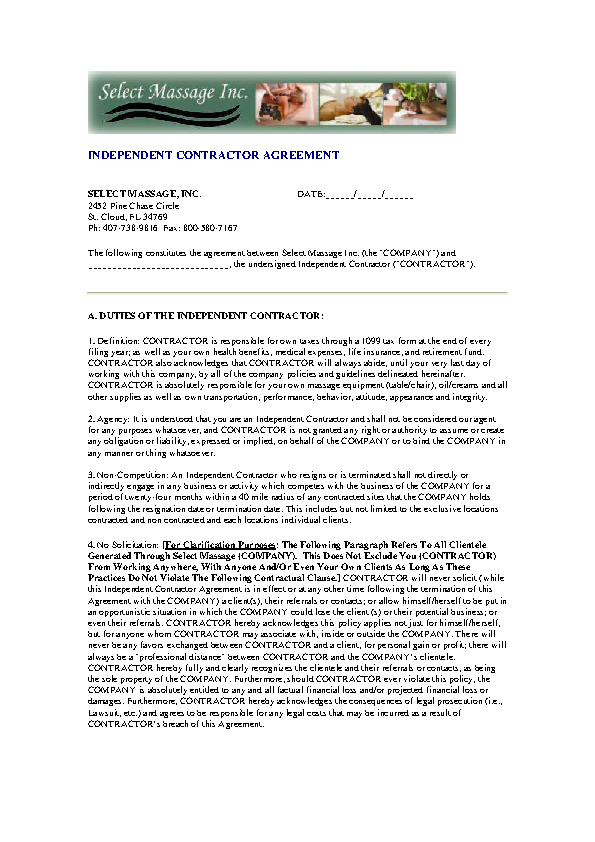 Non Compete Agreement Of Contractor