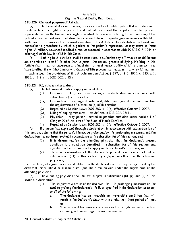 North Carolina Article 23 Right To Natural Death Brain Death