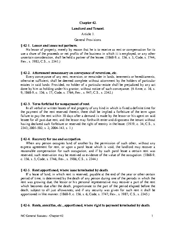 North Carolina Chapter 42 Landlord And Tenant
