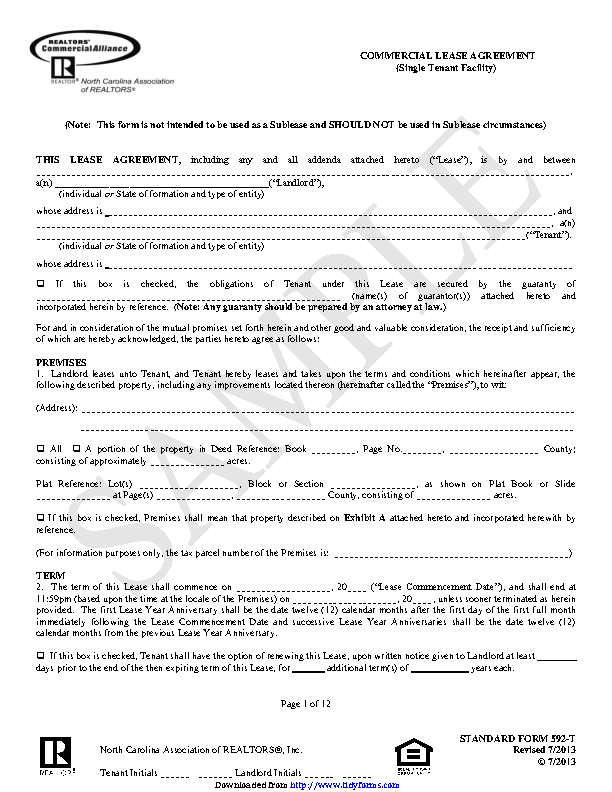North Carolina Commercial Lease Agreement Sample Pdfsimpli