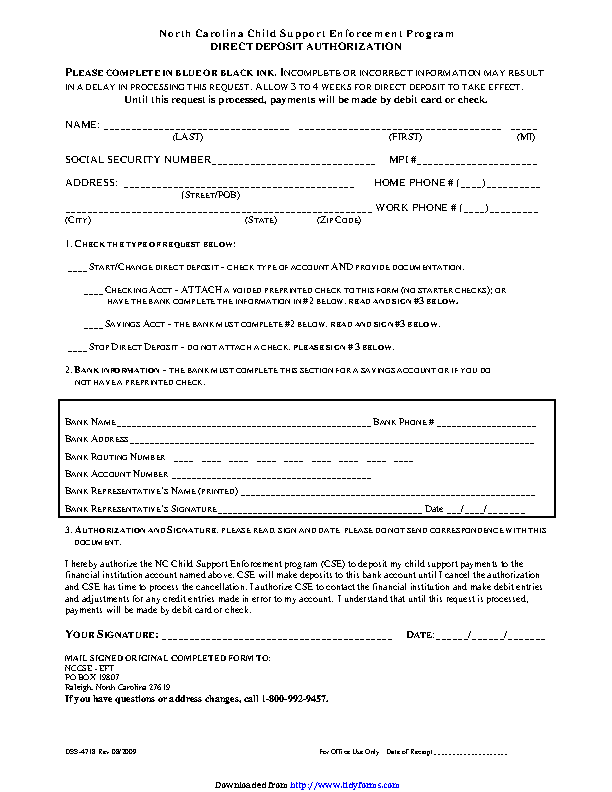 North Carolina Direct Deposit Form 3