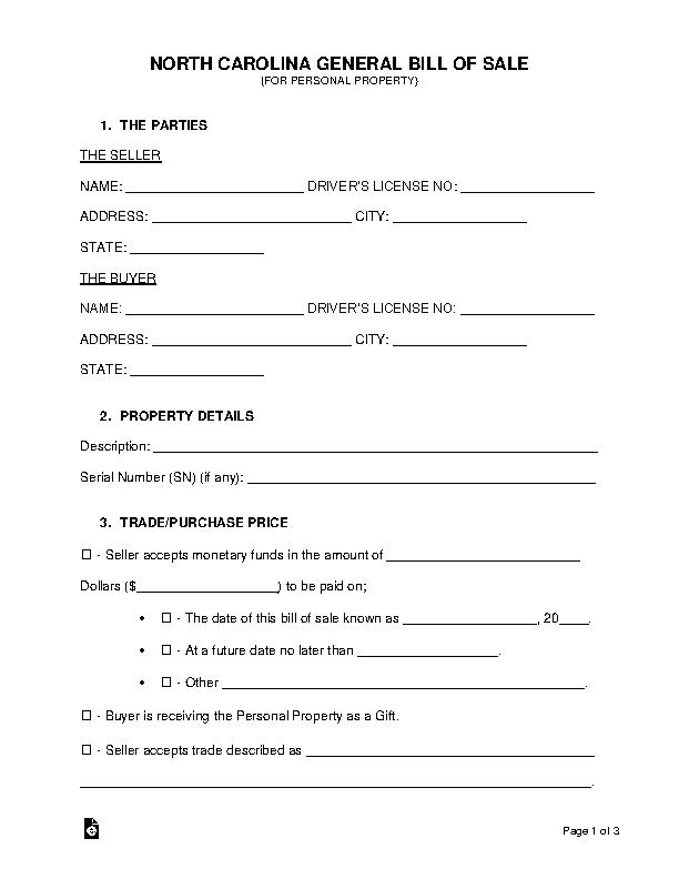 North Carolina General Personal Property Bill Of Sale