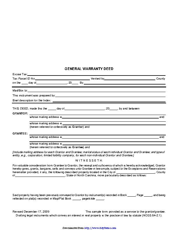 North Carolina General Warranty Deed 2