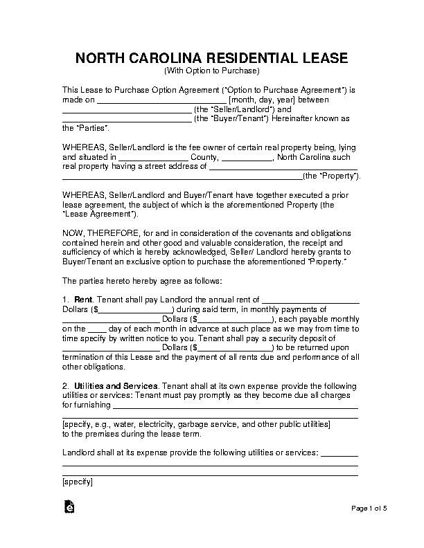 North Carolina Lease With Option To Purchase Form