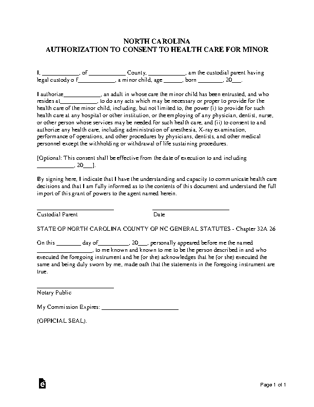 North Carolina Minor Child Power Of Attorney Form