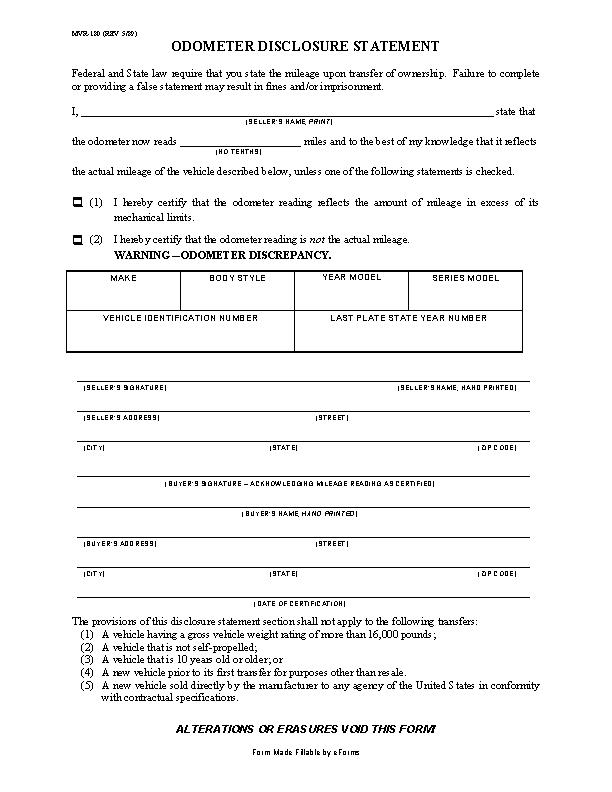North Carolina Odometer Disclosure Statement Form MVR180