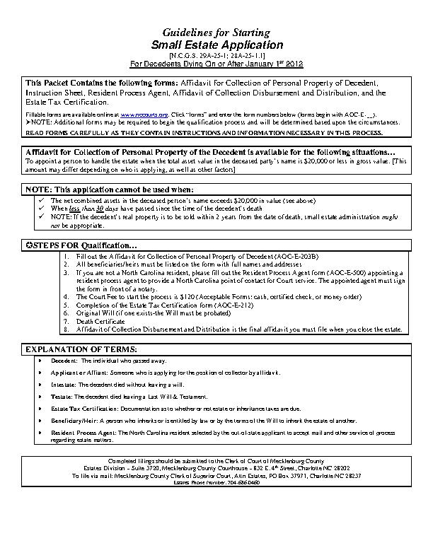 North Carolina Small Estate Packet