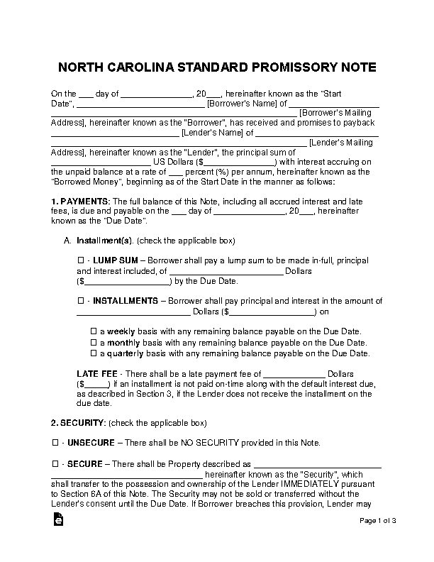 North Carolina Standard Promissory Note Template