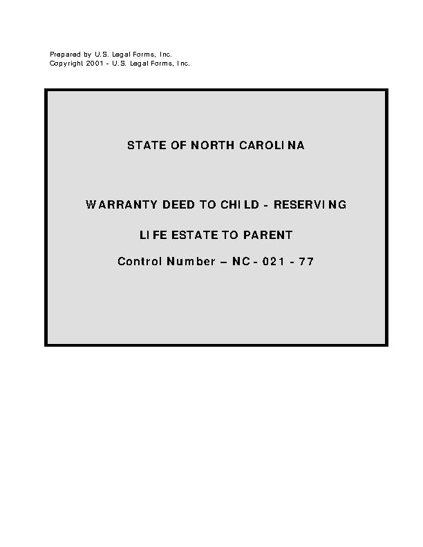 North Carolina Warranty Deed To Child