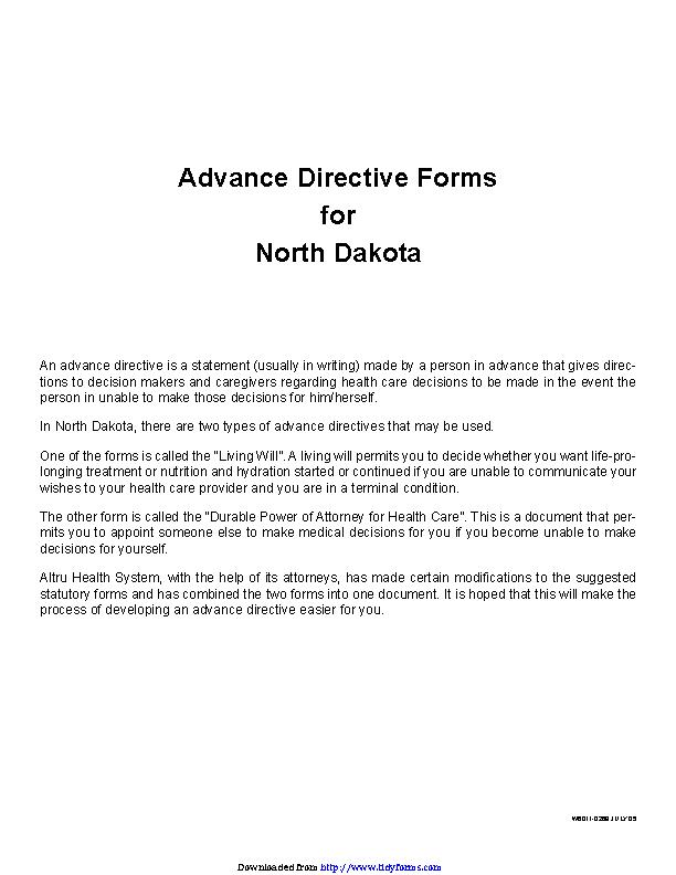 North Dakota Advance Directive Form