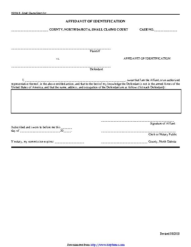North Dakota Affidavit Of Identification Form