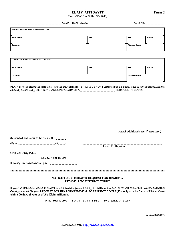 North Dakota Claim Affidavit Form
