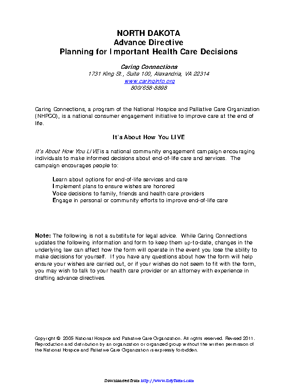 North Dakota Health Care Advance Directive Form