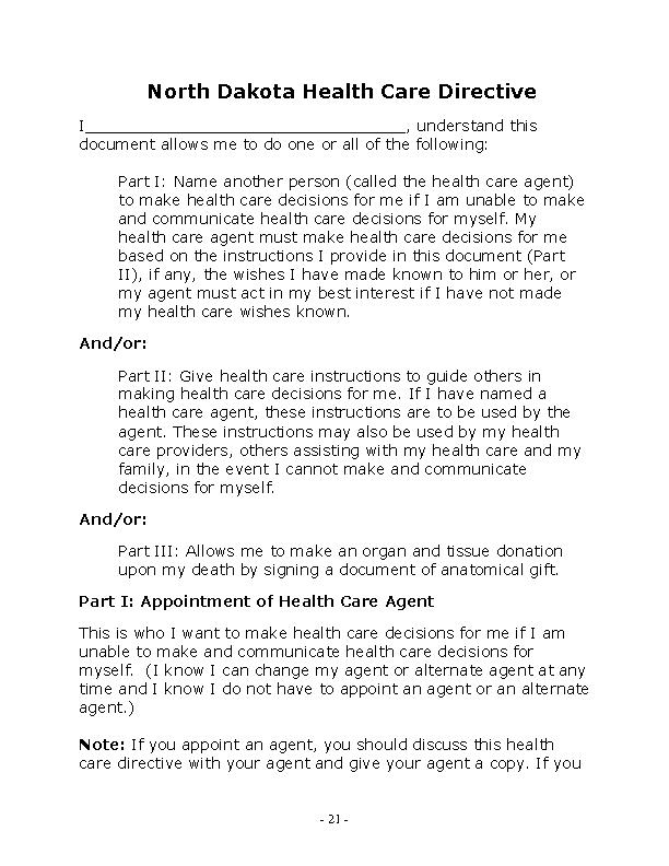 North Dakota Health Care Directive