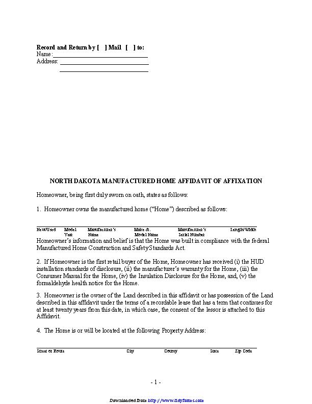 North Dakota Manufactured Home Affidavit Of Affixation Form