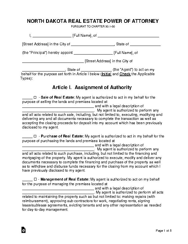 North Dakota Real Estate Power Of Attorney Form