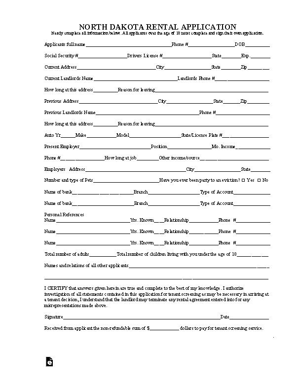 North Dakota Rental Application Form