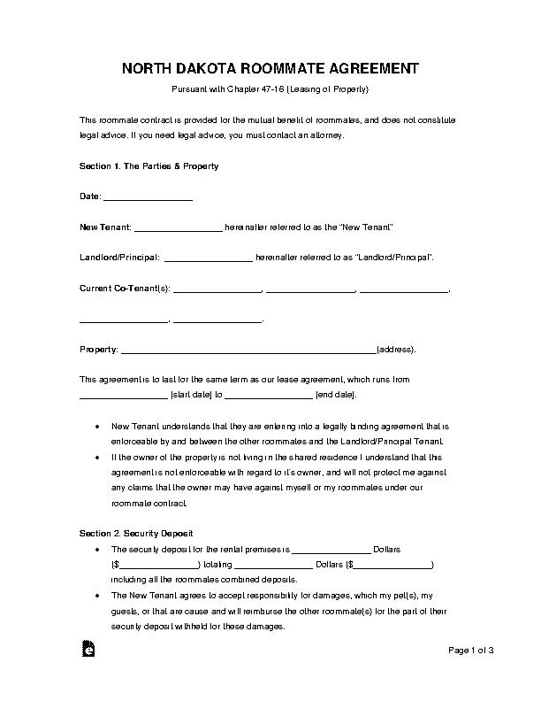 North Dakota Room Rental Agreement Form