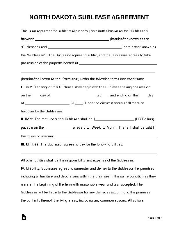 North Dakota Sublease Agreement Template