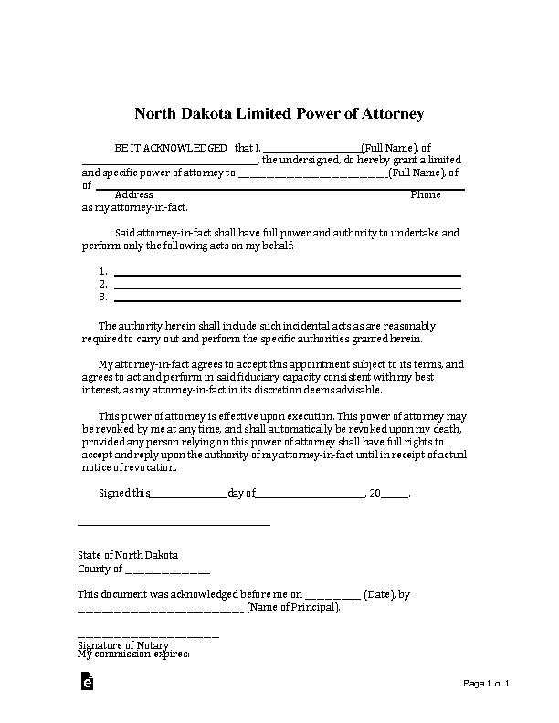 Northdakota Limited Power Of Attorney