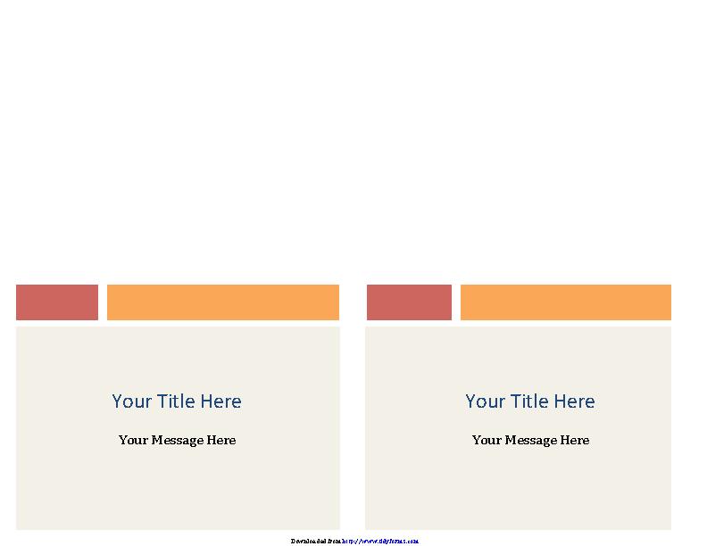 Note Cards Colored Blocks Design 2 Per Page