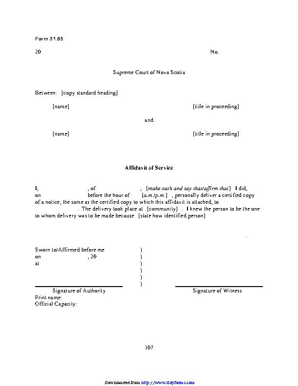 Nova Scotia Affidavit Of Service Form