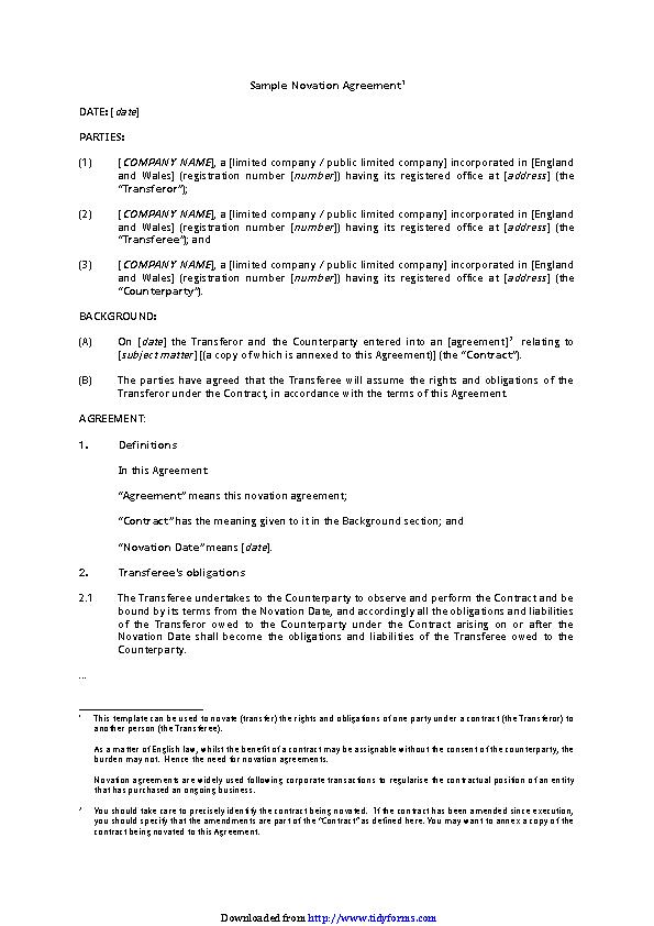 Novation Agreement 2