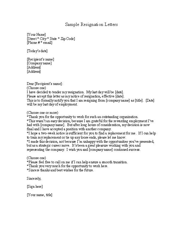 Nursing Resignation Letter Template