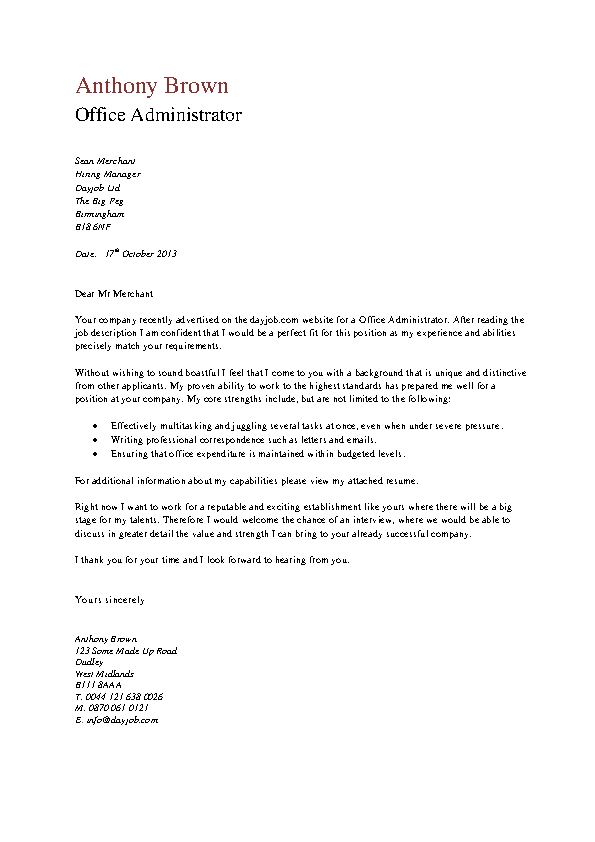 Office Administrator Cover Letter Pdfsimpli