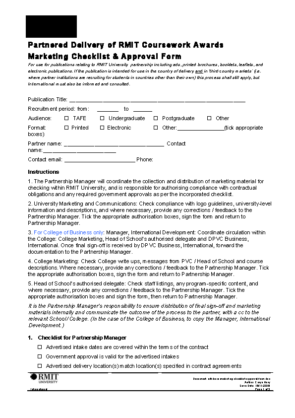 Offshore Marketing Checklist Approval Form