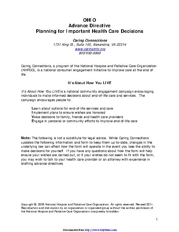 Ohio Advance Health Care Directive Form