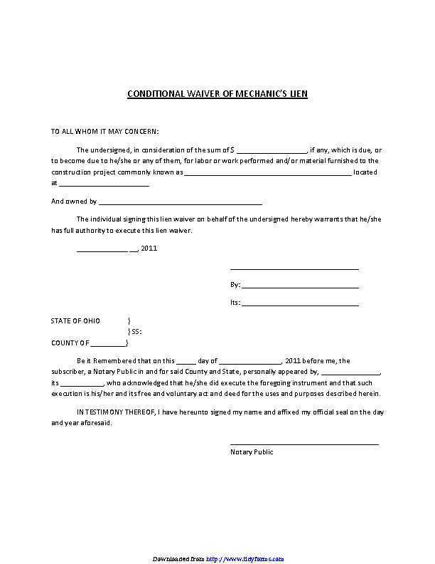 Ohio Conditional Waiver Of Mechanic Lien