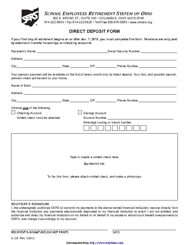 Ohio Direct Deposit Form 2