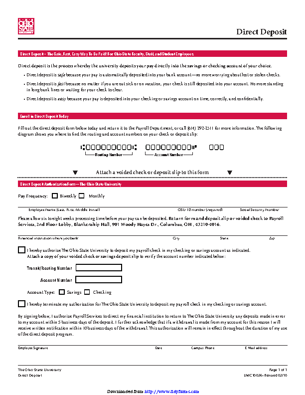 Ohio Direct Deposit Form 3