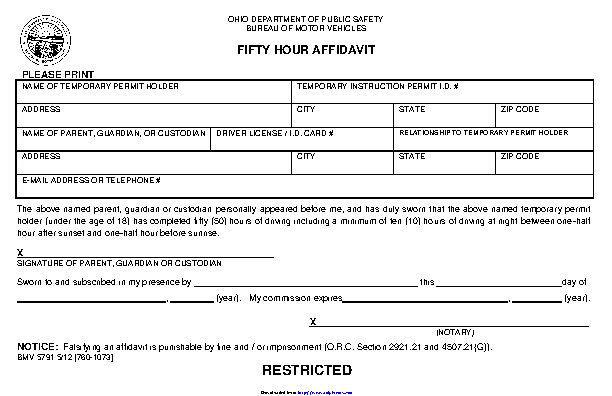 Ohio Fifty Hour Affidavit