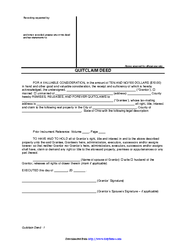 Ohio Quitclaim Deed Form