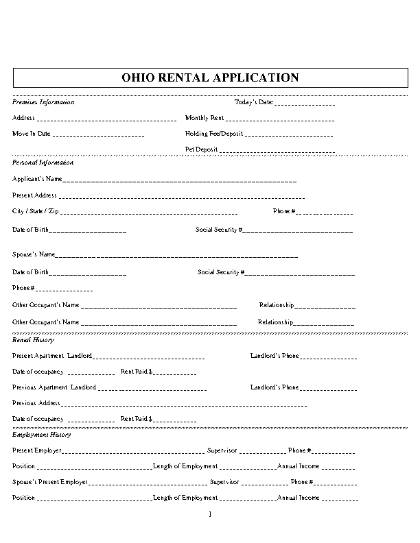 Ohio Rental Application Form