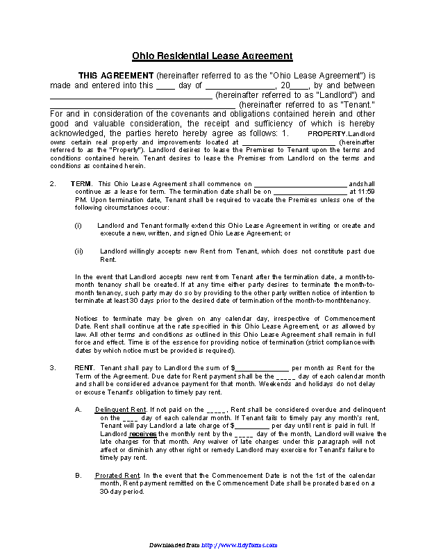 Ohio Residential Lease Agreement Template Pdfsimpli
