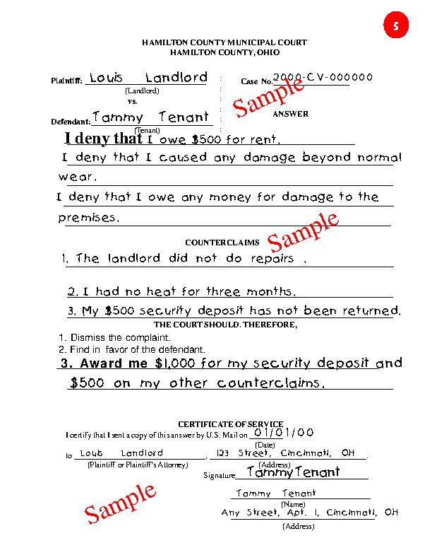 Ohio Sample Answer Sheet