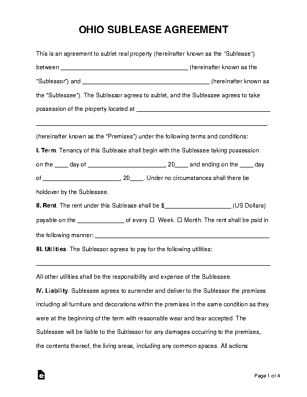 Ohio Sublease Agreement Template